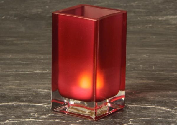 Burgundy Cube Glass Candle Holder SCH8660-04