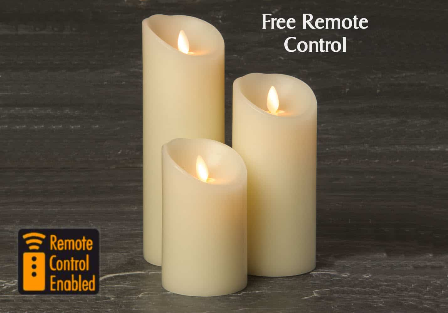 Set Of 3 3 Inch Ivory Wax Led Battery Candles With Moving Flames